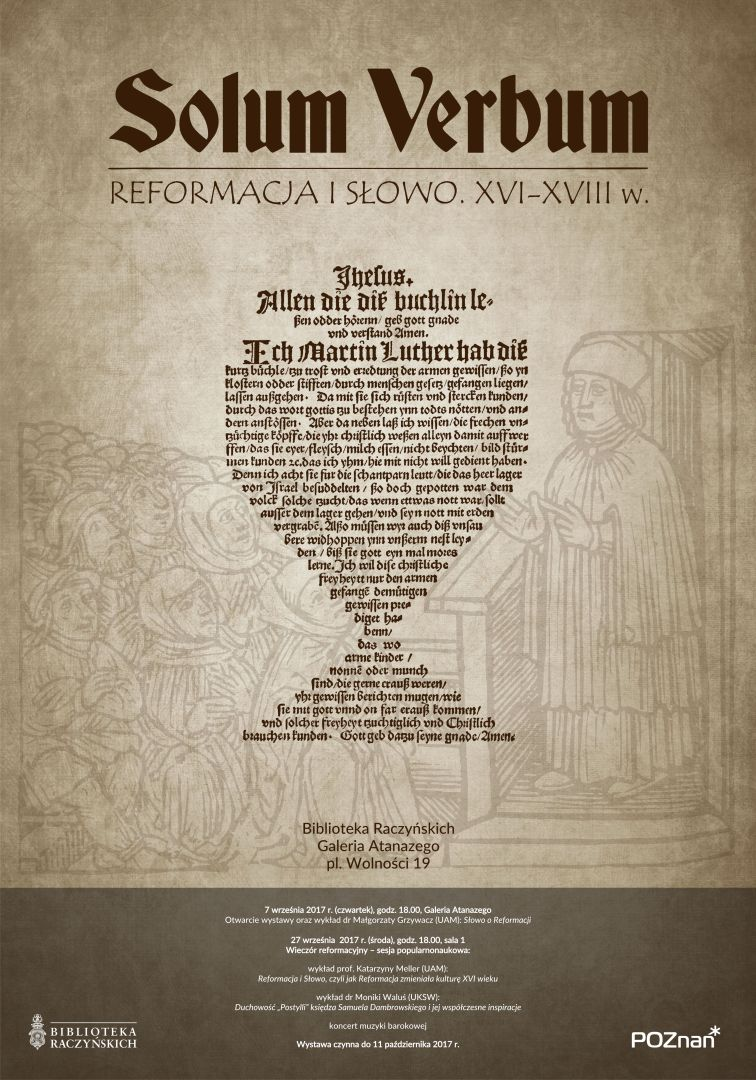 reformacja solum verbum - Biblioteka Raczyńskich w Poznaniu