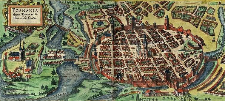 Poznan - Widok Poznania z 1618 r, źródło:  Wikimedia