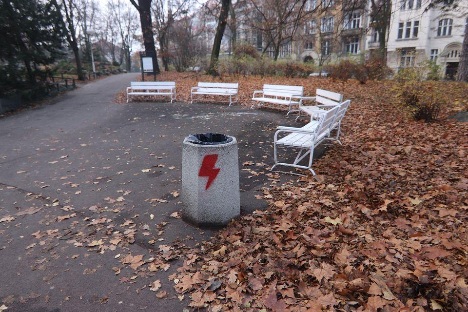 zniszczone kosze park wilsona - FB: Palmiarnia Poznańska