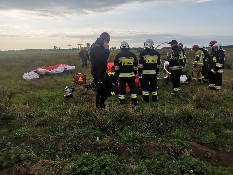 motolotnia awaryjne lądowanie środa wielkopolska paralotnia - Policja Środa Wielkopolska