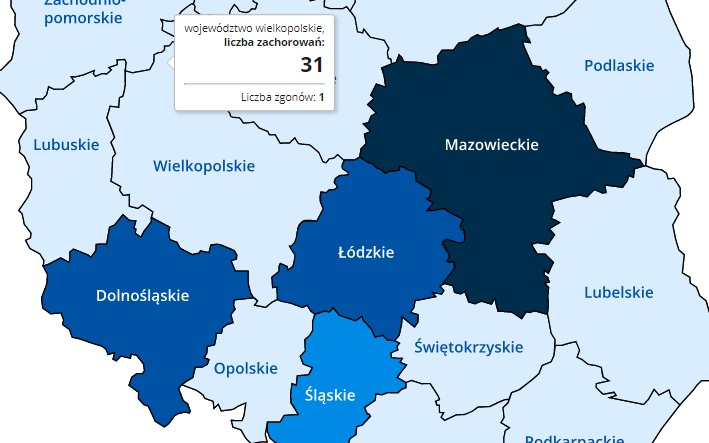 mapa koronawirusa Polska - gov.pl
