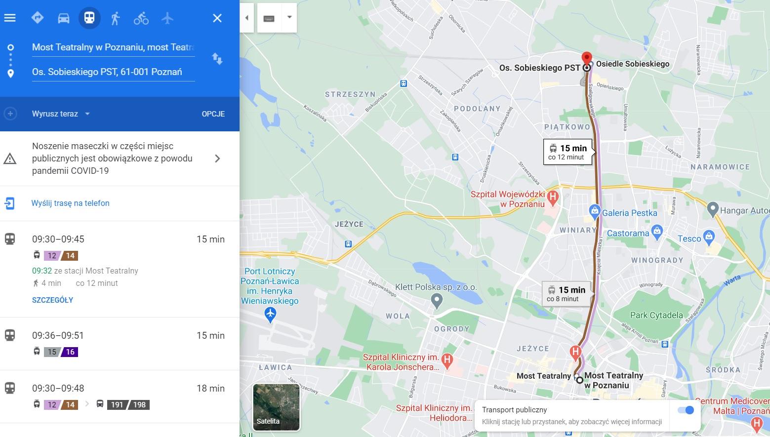 komunikacja w google maps - Google Maps